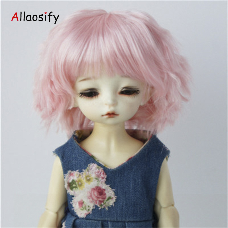 Allaosify Bjd Hair Pink Short Curly Bangs 1/3 1/4 1/6 Bjd Wigs High Temperature Fiber Bjd Doll Wig Free Shipping Suitable For Men And Women Of All Ages In All Seasons
