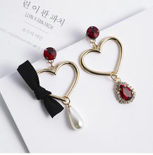 2017 Hot Sell Fashion Accessories Korean simulated Pearl Jewelry Heart Bow Exaggerated Earrings For Girls Fashion Pendientes(China)