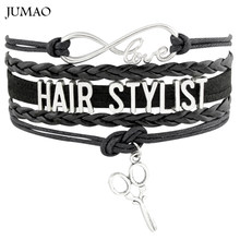 Infinity Love HAIR STYLIST Scissors Barber Bracelets & Bangles Leather Wrap For Men Women Bracelet Fashion Jewelry(China)
