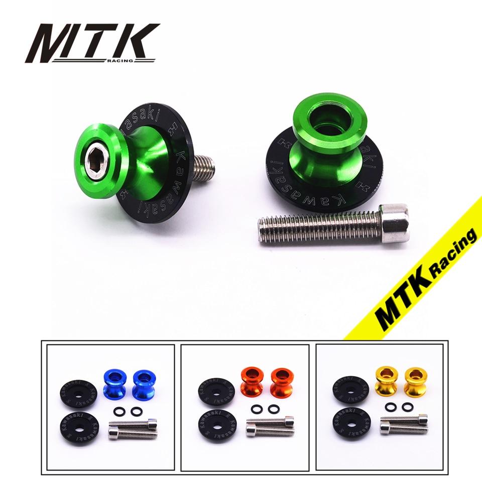 MTKRACING For KAWASAKI LOGO ER6N Z750 Z750R Z250 NINJA 250 300 Z1000 1000 Versys 10mm CNC Swingarm Spools stand screws Slider
