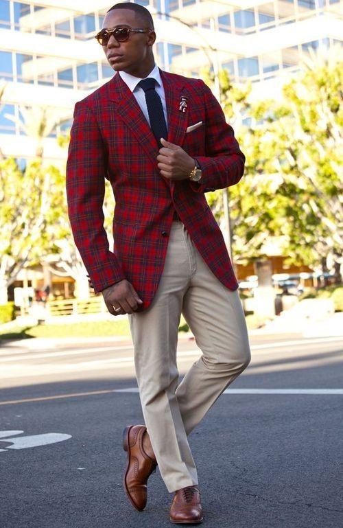 British Style Men's Red Plaid Blazer Vintage Mens Slim Fit Suits Wedding Suits For Men Tuxedos  (jacket+pant)
