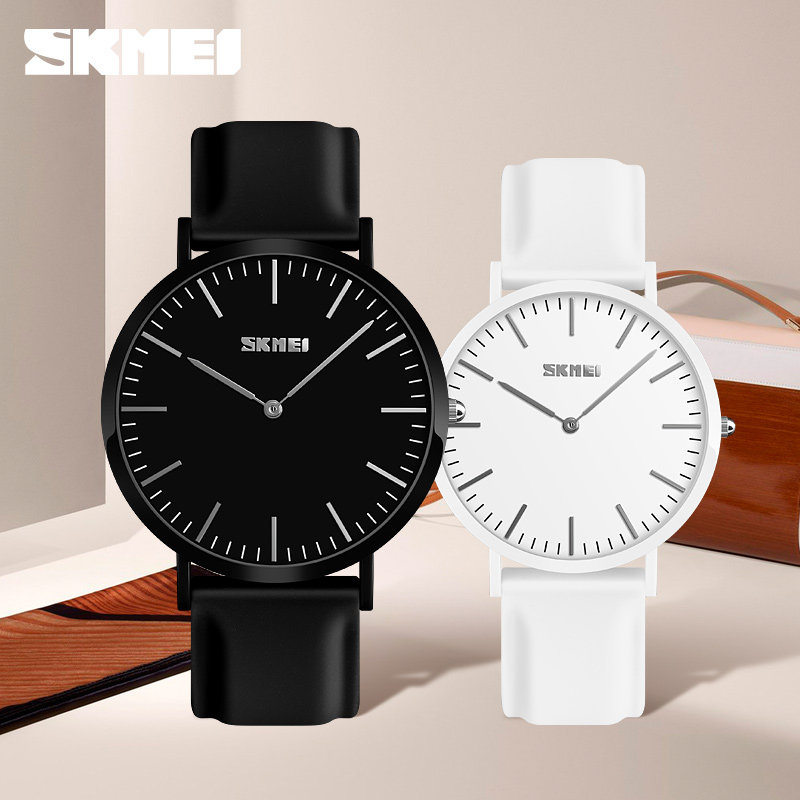 SKMEI Couple Watches Popular Woman Man Fashion Casual Quartz Watch Leather Colorful Wristwatches Lover's Unisex Gift Clock 9179