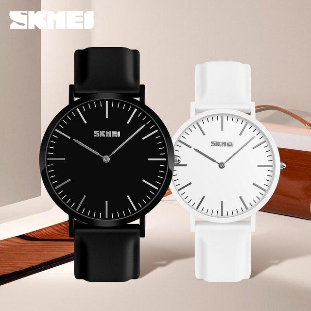 SKMEI Couple Watches Popular Woman Man Fashion Casual Quartz Watch Leather Color