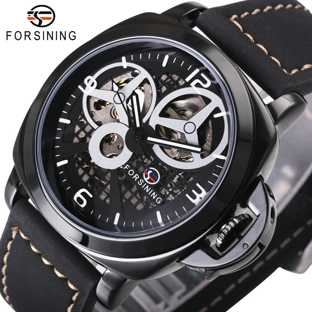 Top Brand FORSINING Men Automatic Mechanical Watches Royal Skeleton Wrist Watch Nubuck Leather Band 6 colors Fashion Wristwatch btt 116 free shipping pro 36w uv dryer acrylic nail art set acrylic nail kit kit nail gel kit gel nails set with lamp