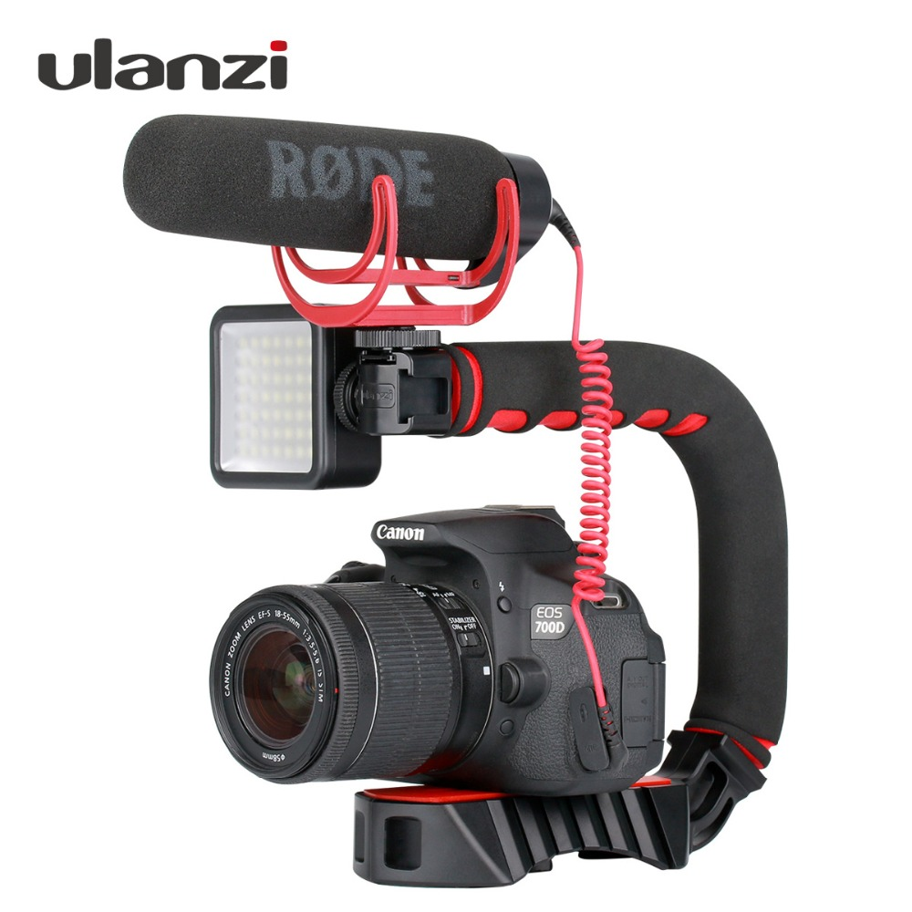 Ulanzi U-Grip Pro Triple Shoe Mount Video Stabilizer Handle Video Grip Camera Phone Video Rig Kit For Nikon Canon IPhone X 8 7(China)