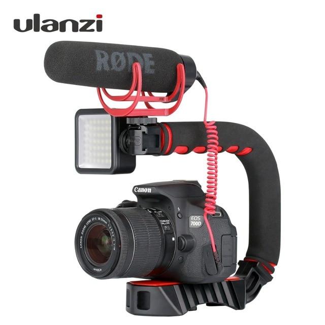 Ulanzi U-Grip Pro Ba Giày Mount Video Ổn Định Xử Lý Video Grip Máy Ảnh Điện Thoại Video Rig Kit cho Nikon canon iPhone X 8 7