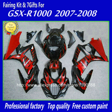 ABS plastic fairing body kit for SUZUKI GSXR1000 2007 2008 K7 GSXR 1000 07 08 red flames in silver custom fairings set  BM38