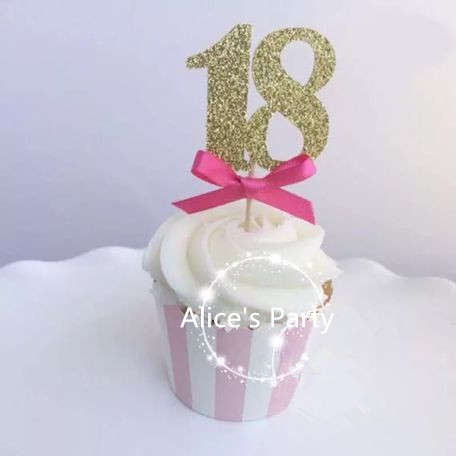 New Gold 18 Cake Topper 18th Birthday Party Decoration With Pink Bows Cupcake Toppers Food Fruit Picks Years Celebration