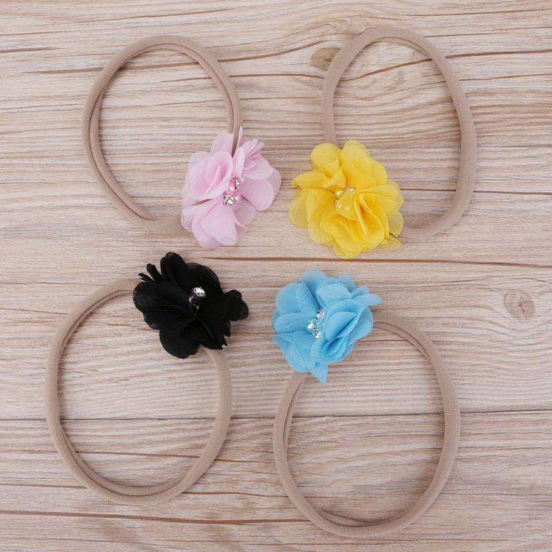 10pcs/set Baby Headwear Hair Bands Children Elastic Childrens Hairband Hand Sewing Flower Flower Belt Hair Accessories