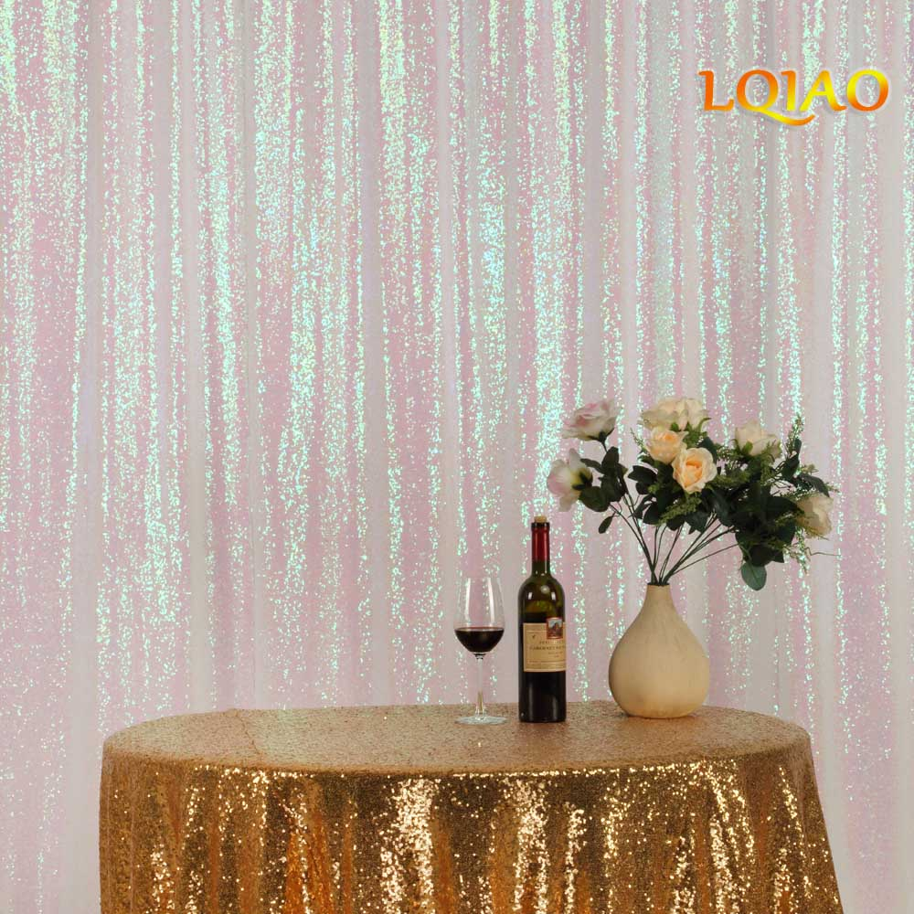Sequin Curtain Backdrop 2 Panels 4x7ft Sparkly Iridescent White Sequin Curtain Backdrop Background Christmas Wedding Decoration-in Party Backdrops from Home & Garden    3