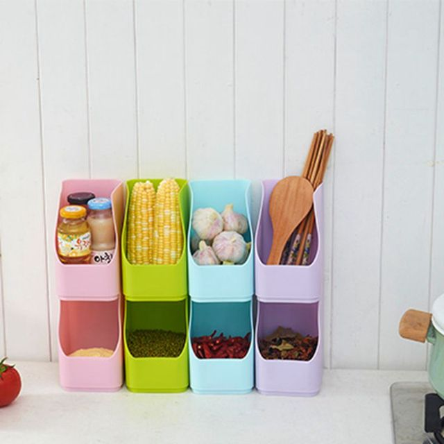 Plastic Food Pots Bathroom Cosmetics Grain Storage Cans Thick Stack Organizer Kitchen Accessories Container