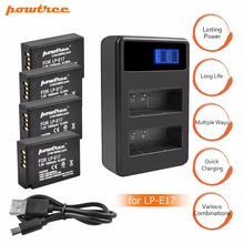 цена на 4Pcs LPE17 LP E17 LP-E17 Battery+LCD USB Dual Charger for Canon EOS 200D M3 M6 750D 760D T6i T6s 800D 8000D Kiss X8i Cameras L15