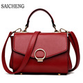 SAICHENG Brand High Quality Women Leather Handbag Hot Trapeze Women Messenger Bags Ladies Crossbody Bag 2017 Designer Circle Sac