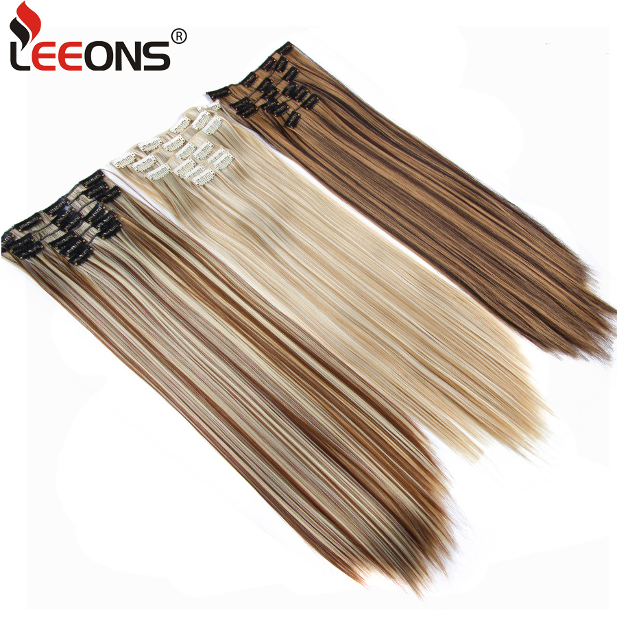 Leeons 16 Clip In Hair Extensions Fake Hair Synthetic Hairpiece Heat Resistant Hair 6Pcs/Set Straight Clip Ins Hairpins