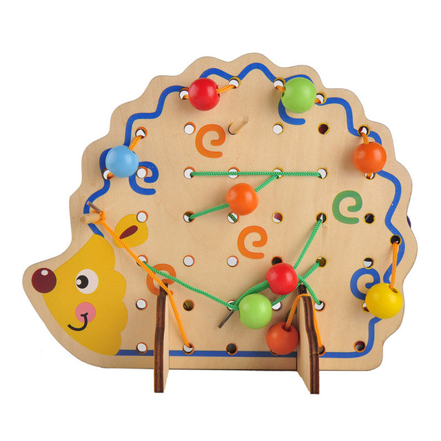 Wooden Math Toys Hedgehog Lacing Beads Fruits Kids Gift Bright Learning  Educational Soft Montessori Develop Children