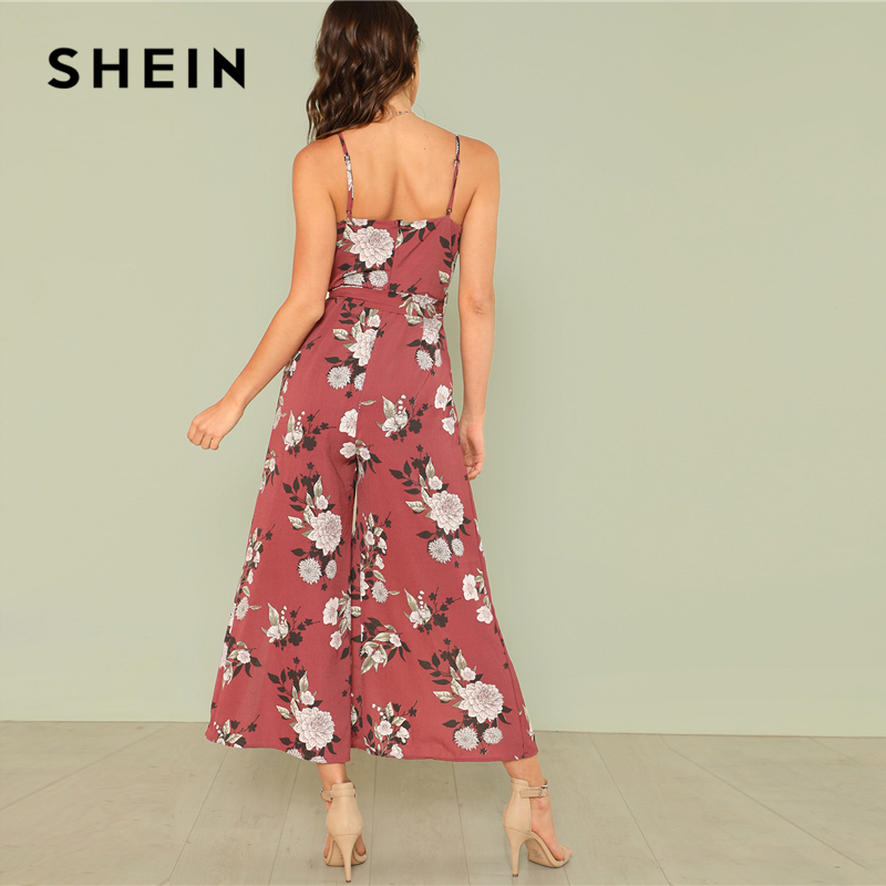 59f353a77a8e9 SHEIN Slit Hem Flower Print Cami Jumpsuit 2018 Summer Spaghetti Strap  Sleeveless Jumpsuit Women Floral Vacation Belted Overalls-in Jumpsuits from  Women s ...