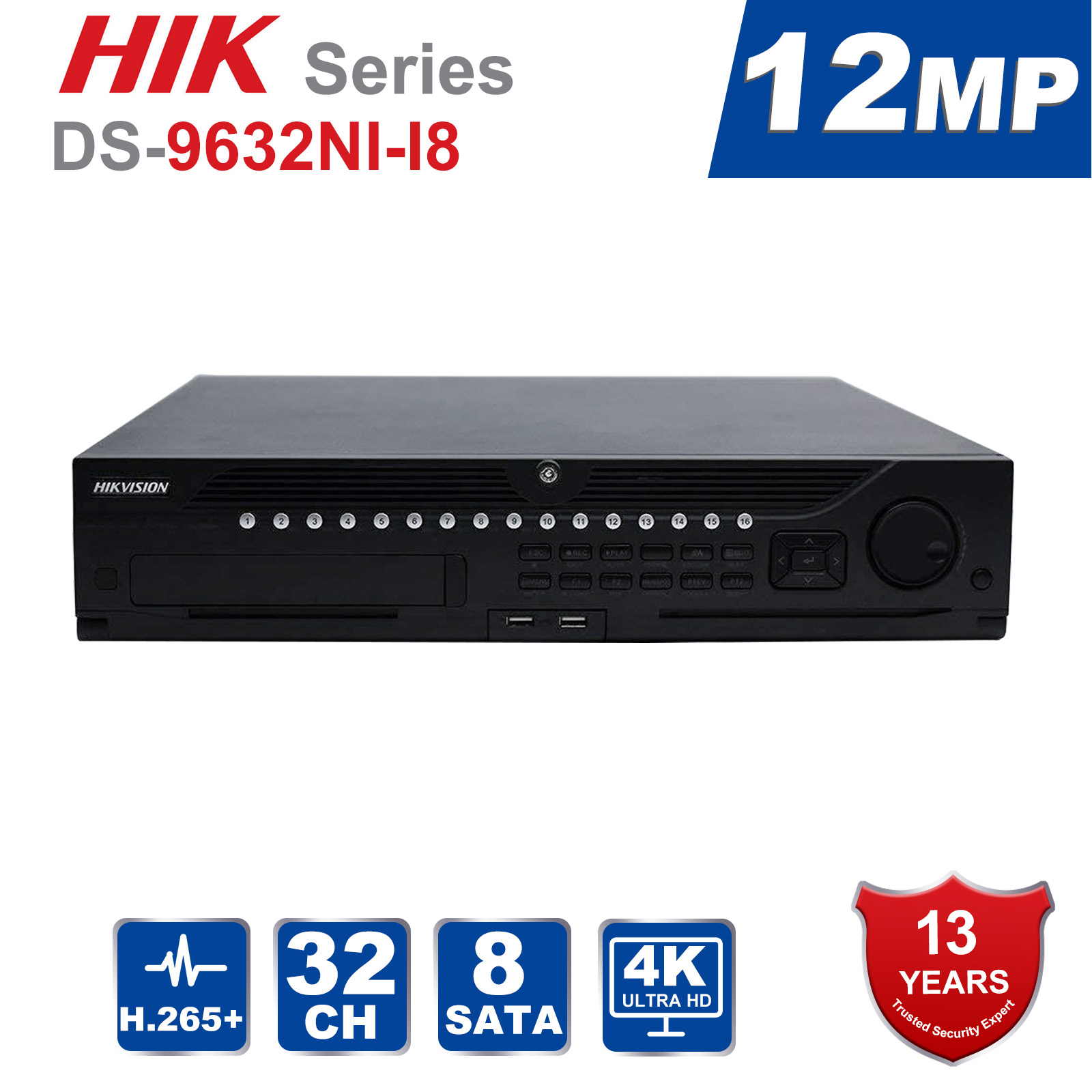 Hik Original Professional 32 Channel CCTV System DS-9632NI-I8 Embedded 4K 32 CH NVR Up to 12 Megapixels Resolution 8 SATA 2 HDMIHik Original Professional 32 Channel CCTV System DS-9632NI-I8 Embedded 4K 32 CH NVR Up to 12 Megapixels Resolution 8 SATA 2 HDMI