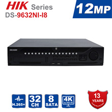 Hik Original Professional 32 Channel CCTV System DS-9632NI-I8 Embedded 4K 32 CH NVR Up to 12 Megapixels Resolution 8 SATA 2 HDMI