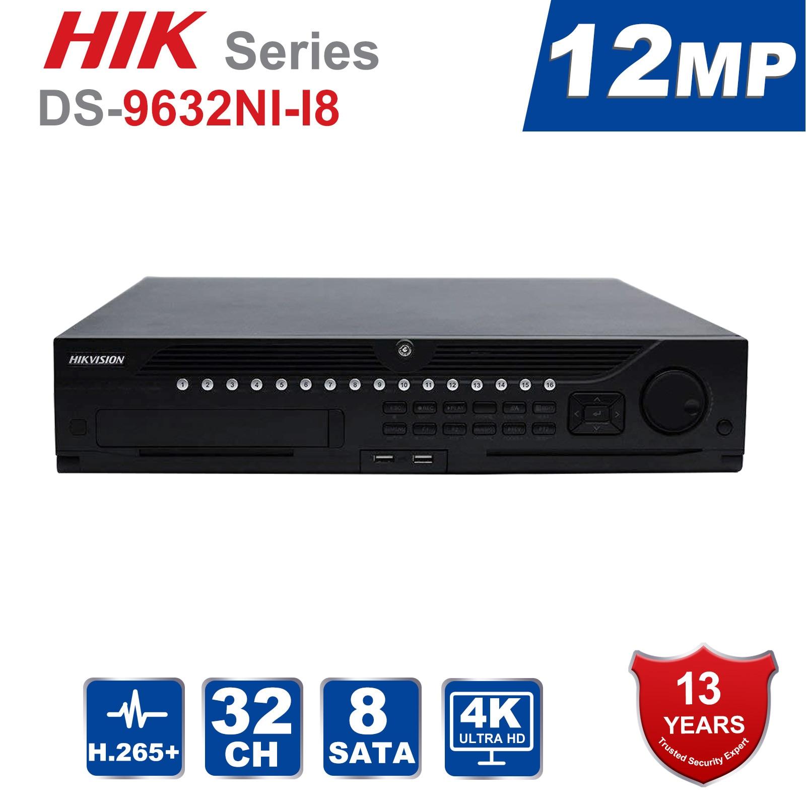 Sistema de CFTV Canal DS-9632NI-I8 32 Hik Original Profissional Incorporado 4 K 32 CH NVR até Megapixels Resolução 12 8 SATA 2 HDMI