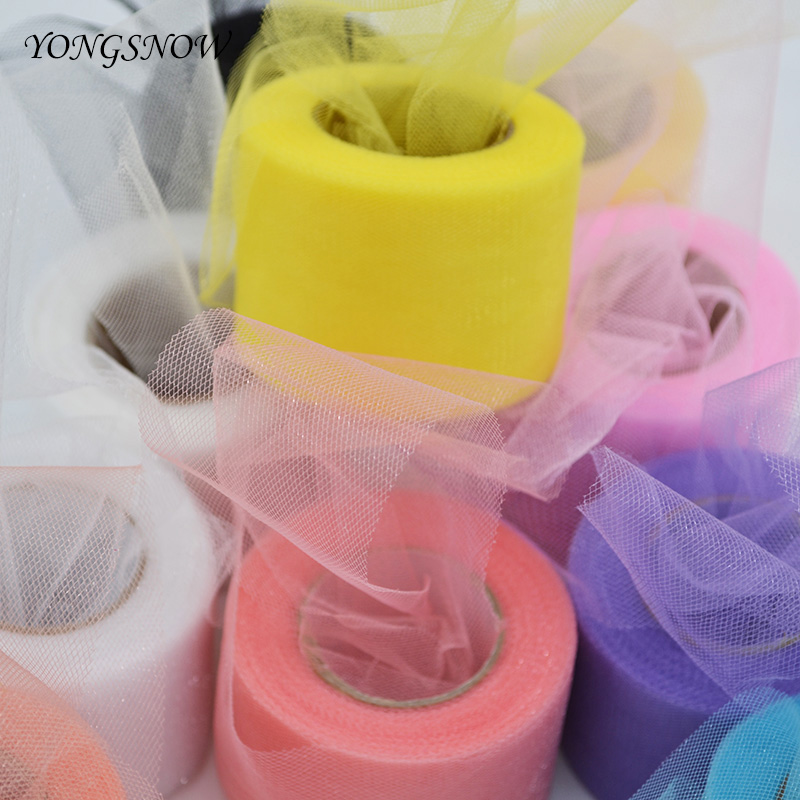 22M Colorful Tulle Roll Crystal Fabric Organza Tulle Roll Spool DIY Girls Tutu For Wedding Birthday Home Party Deco