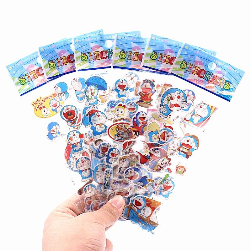 6pcs/lot Doraemon can choose Fashion Brand Kids Toys Cartoon 3D Stickers Children girls boys PVC Stickers Bubble Stickers