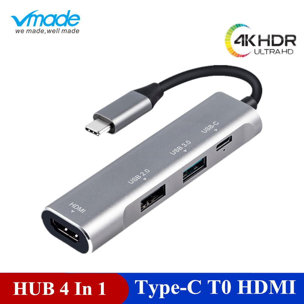 Vmade 4 in 1 USB HUB USB C HUB Adapter to HDMI PD port Converter for MacBook Pro Type C HUB for Huawei P20 Mate 20 Pro 3.1 HUB-in USB Hubs from Computer & Office