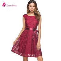 Berydress Elegant Women Vintage Wedding Party Dress Cap Sleeve With Belted Knee Length Sexy V Back