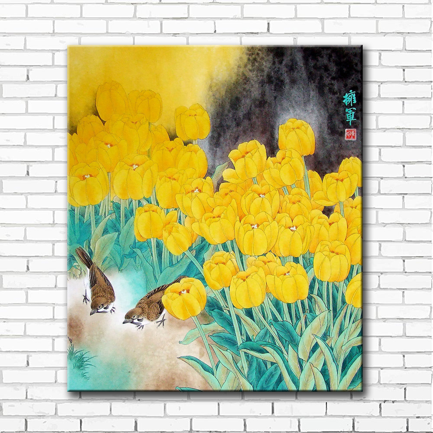 Chinese yellow tulips flower landscape canvas printings oil painting ...