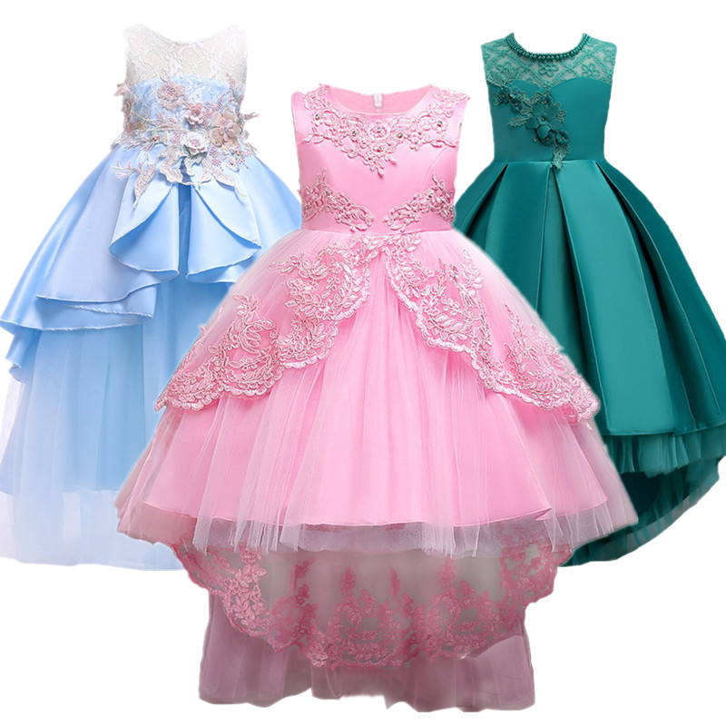 Girls Party Dress Kids 2016 flower Lace Long Tail pink tutu Dress For Wedding girls Bridesmaid Dress For baby Girls 2-10 yrs Платье