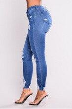 3xl Plus Size Light Blue Skinny Ripped Jeans For Female Women Mid Waist Bleash Wash Casual Denim Jeans 2018 Slim Fit Pants Femme