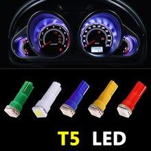 10pcs Car Interior LED light T5 74 1 SMD 5050 led Dashboard T5 74 LED Bulb Lamp Yellow/Blue/green/red/white car light source creative led light bulb keychain green white