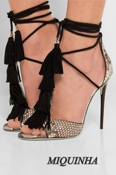 stylish sexy fringe women thin high heel shoes peep toe cover heel lace up sandals ankle strap hot selling party footwear