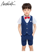 ActhInK New 2019 Boys Summer Suit 3Pcs Children Formal Wedding Baby Gentle Costume Kids Shirts Vest with Bowtie