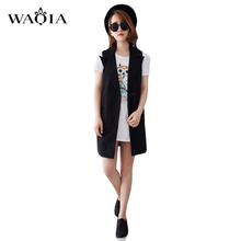 New Design Autumn Style Women Long Vest Coats Black Large Size Tailored Turn-Down Collar Double Breasted Casual Loose Waistcoat