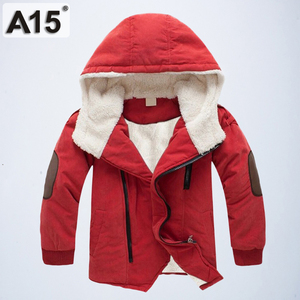 Image 2 - Kids Winter Jackets and Coats Fall Jacket for Boys Parkas Warm Hooded Velvet Cotton Coats Children Clothing Age 4 6 8 10 12 Year