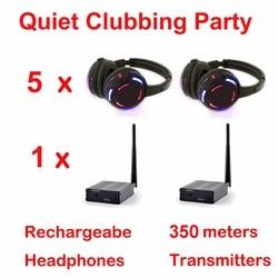 Silent Disco system black led wireless headphones - Quiet Clubbing Party Bundle (5 Headphones + 1 Transmitter)