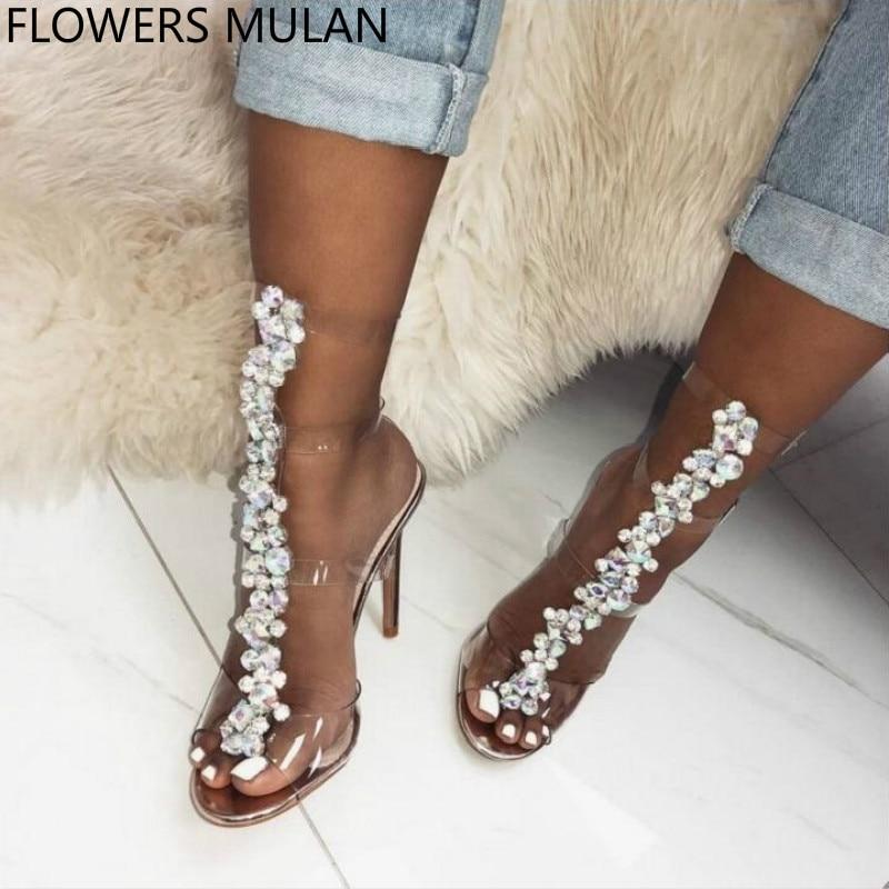 Clear PVC Transparent Rhinestone Knee High Sandals Boots Buckle Strap Open Toe High Heels Women Summer Boots Gladiator Sandals