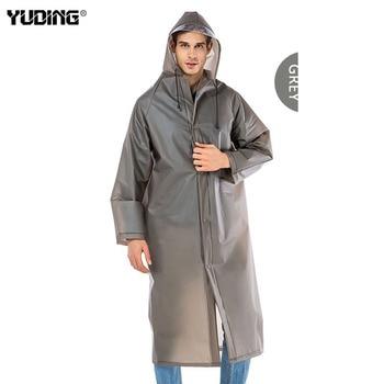 Yuding Lange Regenjas EVA Dikke Mannen Regenkleding Waterdichte Wandelen Tour Hooded Regenjas