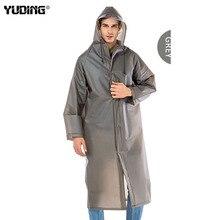 Long Raincoat EVA Thick Men Rainwear Waterproof Hiking Tour Hooded Rain Coat
