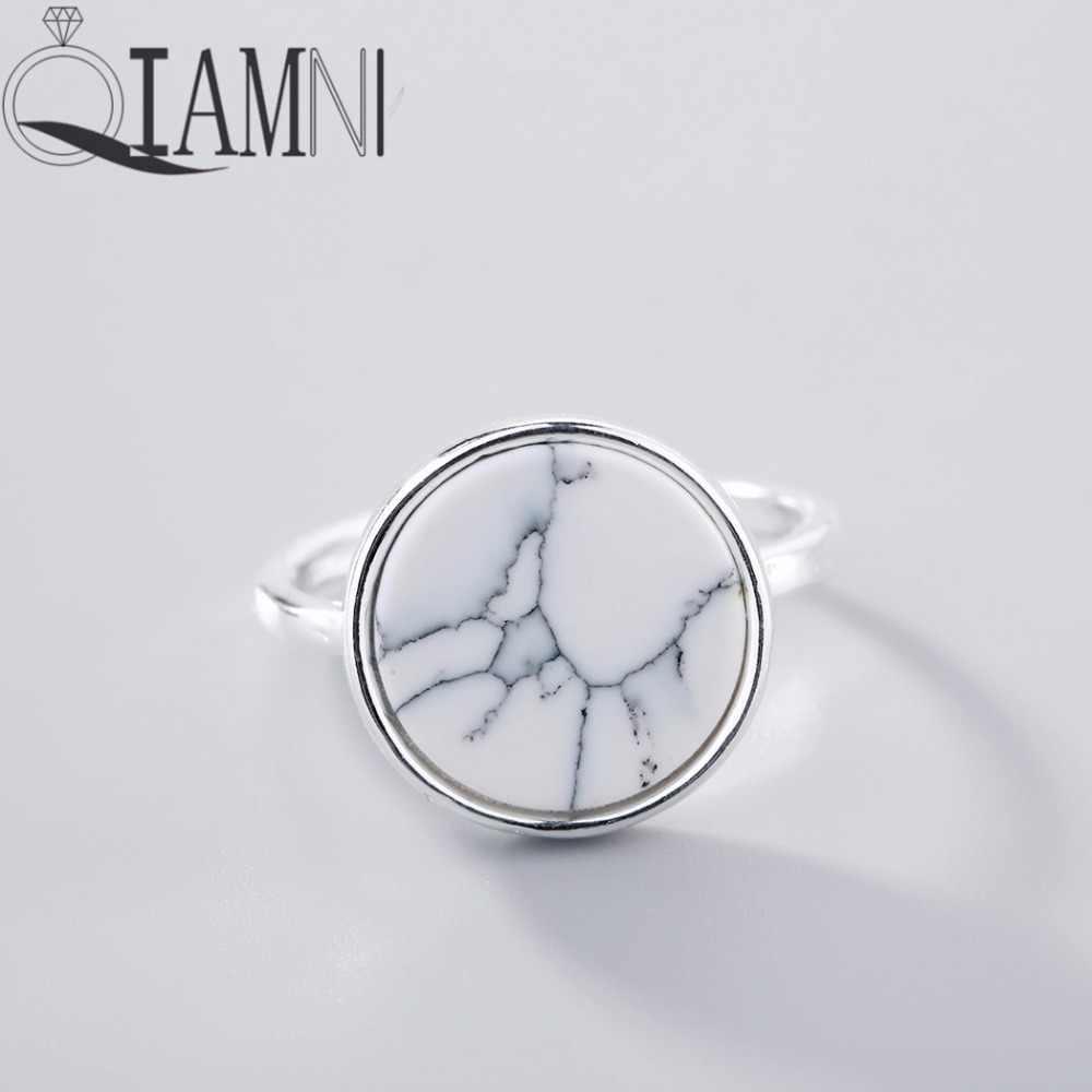 QIAMNI 925 тайский серебряный панк элегантный белый камень круглый открытый кольцо Рождественские Свадебные украшения для женщин девочек подарок на день рождения