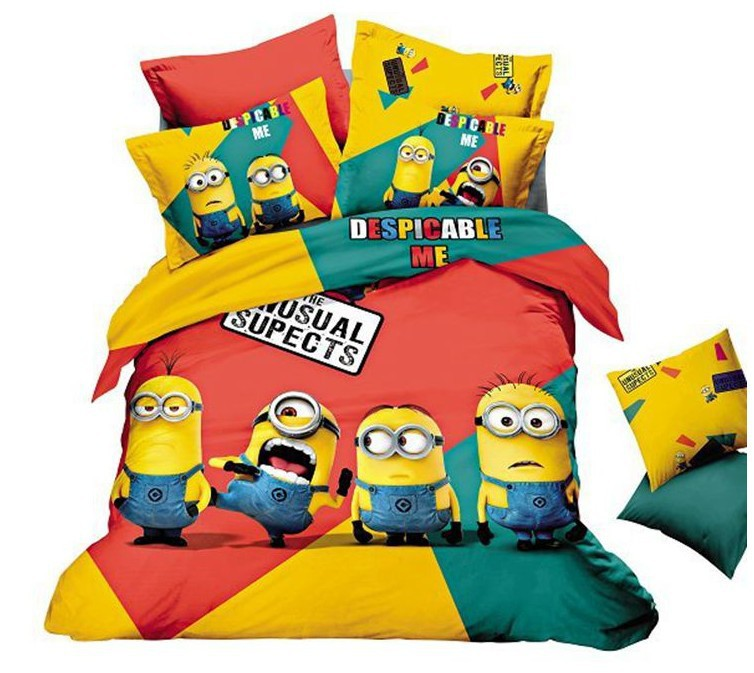 Minion Bed Bedding Sets King Queen Size Cartoon For Kids Bedspread Duvet Cover Bedsheet Sheets Bedroom Quilt Linen Bedclothes 10 In From Home