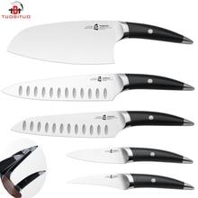 """TUOBITUO 2017 Cuchillo de Cocina set 5 unids/kit de 8 pulgadas cuchillo cocinero 7 """"santoku cuchillo + 7.5"""" cuchilla de Acero Inoxidable Alemán X50 Muy Fuerte"""
