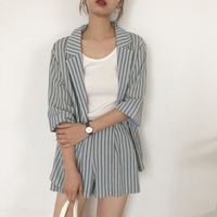 Summer 2 Pieces Set Striped Tracksuit Single Button Blazer Jacket &a Elastic Hot Shorts Suits 2019 Casual Women Pant Suits