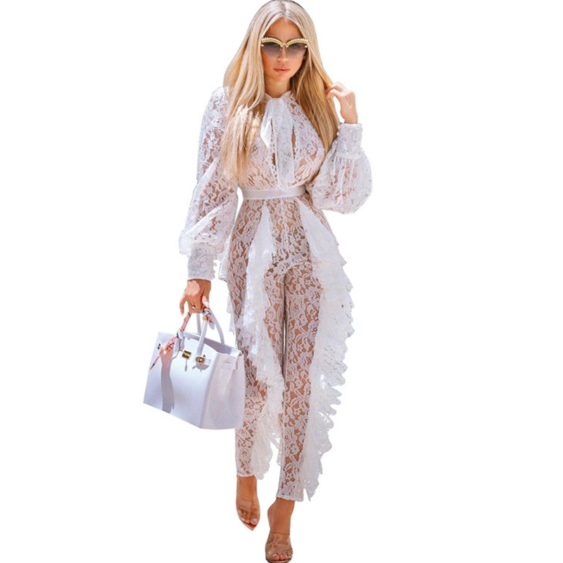 Sheer Long Sleeve White Lace Jumpsuit For Women Sexy See Through Floral Ruffles Bodycon Rompers Christmas Night Club Overalls