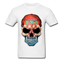 Amazing T Shirts Croatian Flag Skull Fashion Tops Tshirts Summer Popular T-Shirts Natural Cotton Awesome Solid Color