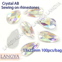 2 Holes 13x22mm More ShinyLoose Stones Wholesale Flatback Crystal AB Sewing Rhinestones