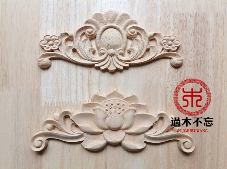 Unpainted wood carved corner decal onlay frame furniture applique