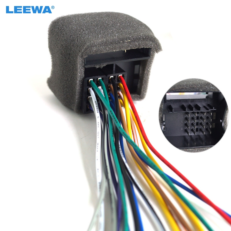 leewa car cd player radio audio stereo wiring harness adapter plug for  audi/bwm/volkswagen/mini/dodge aftermarket cd/dvd stereo
