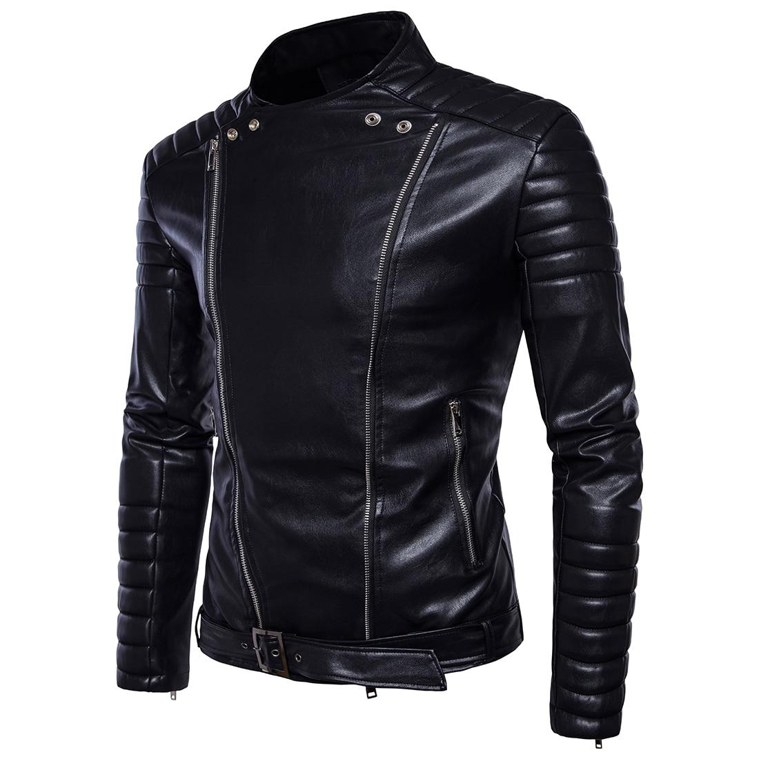Eur Slim design Casual En Couro Glissière Noir Hommes À Cuir Veste Jaqueta Mode Taille Véritable Multi gHwOSqn