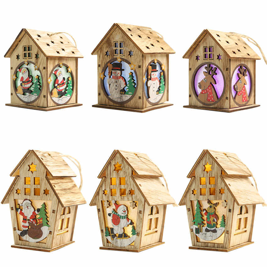 Festival Led Light Wood House Christmas Tree Decorations For Home Hanging Ornaments Fairy Light Xmas Gift Wedding Decor Navidad